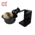 Shaving brush set with mini stand brush bowl BLACK