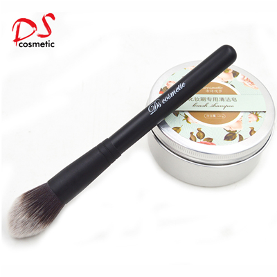 Tapped synthetic hair powder brush