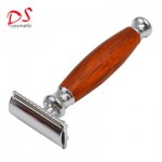 Red wood with metal shaving razor safely razor